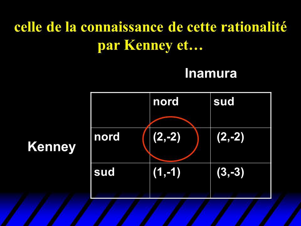 celle de la connaissance de cette rationalité par Kenney et… nordsud nord(2,-2) sud(1,-1) (3,-3) Kenney Inamura