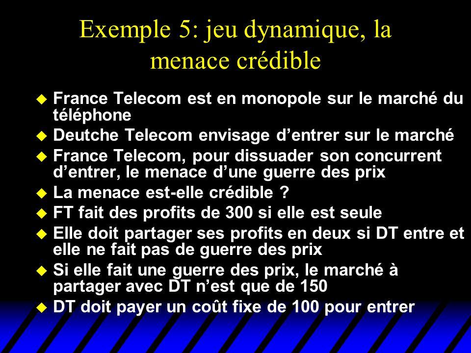 Exemple 5: jeu dynamique, la menace crédible u France Telecom est en monopole sur le marché du téléphone u Deutche Telecom envisage dentrer sur le mar