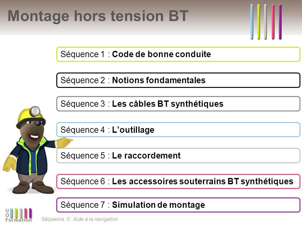 Séquence 0 : Aide à la navigation Montage hors tension BT Séquence 1 : Code de bonne conduite Séquence 2 : Notions fondamentales Séquence 3 : Les câbl