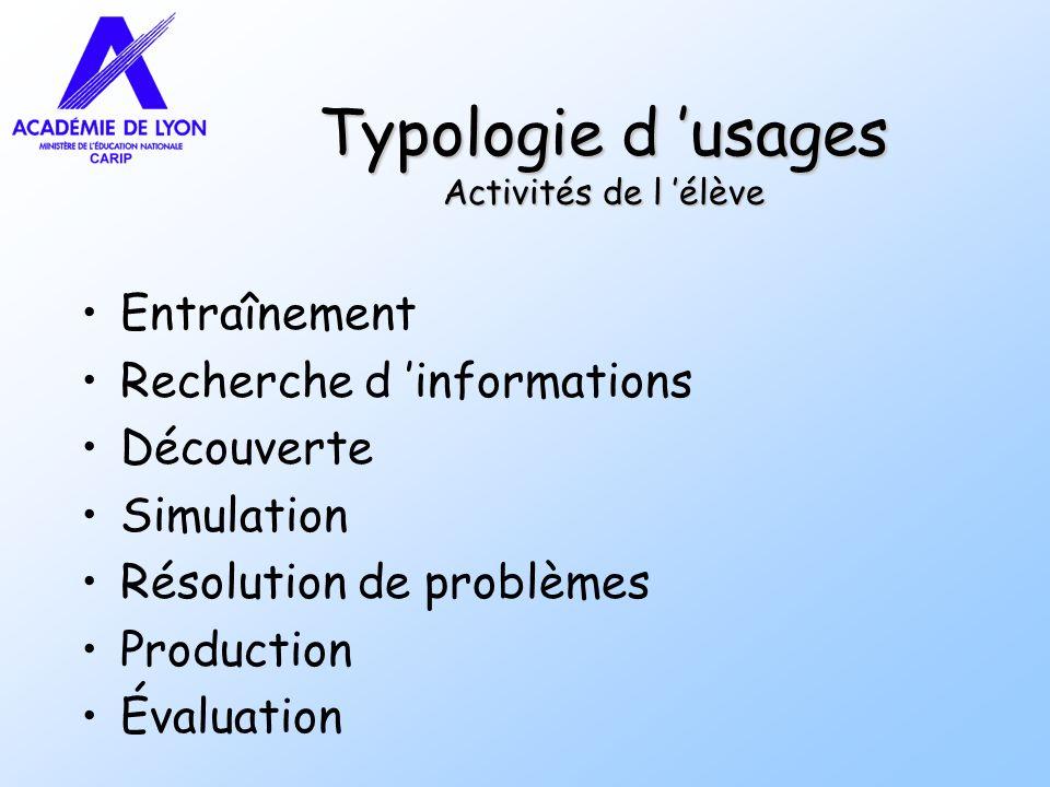Typologie d usages Activités de l élève Entraînement Recherche d informations Découverte Simulation Résolution de problèmes Production Évaluation