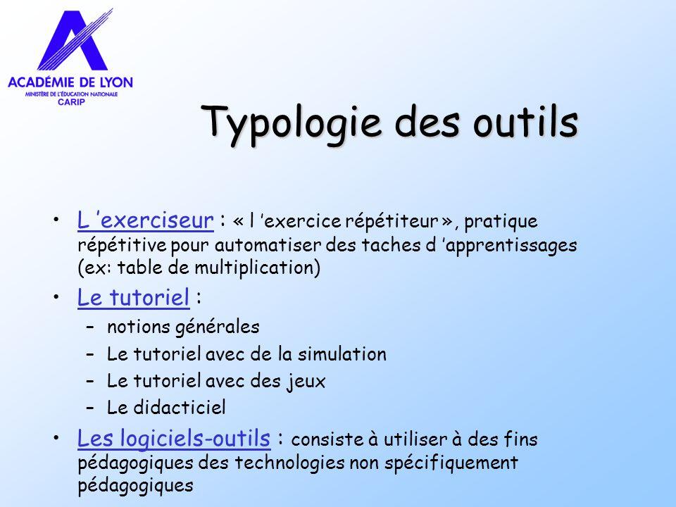 Typologie des outils L exerciseur : « l exercice répétiteur », pratique répétitive pour automatiser des taches d apprentissages (ex: table de multipli