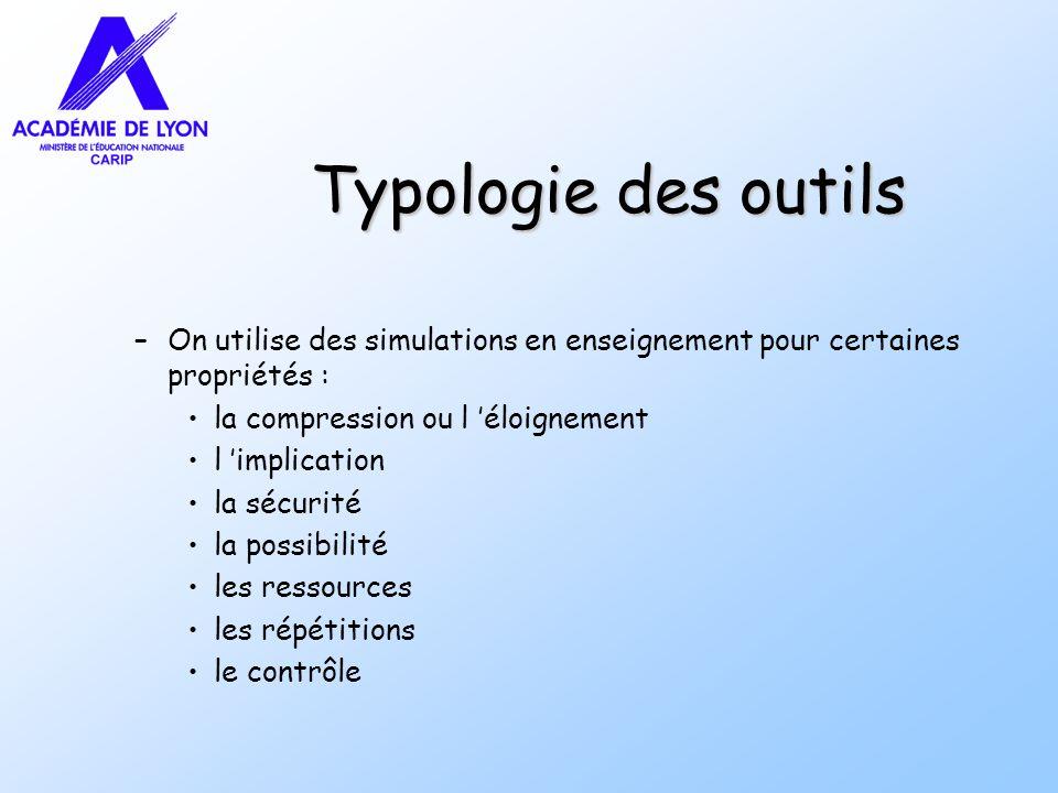 Typologie des outils –On utilise des simulations en enseignement pour certaines propriétés : la compression ou l éloignement l implication la sécurité
