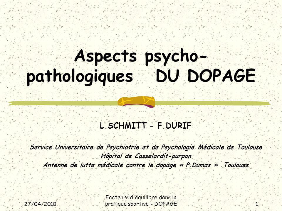 27/04/2010 Facteurs d équilibre dans la pratique sportive - DOPAGE2 Introduction.