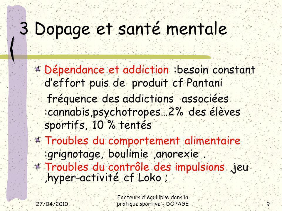 27/04/2010 Facteurs d équilibre dans la pratique sportive - DOPAGE10 4 Les risques psychiques.