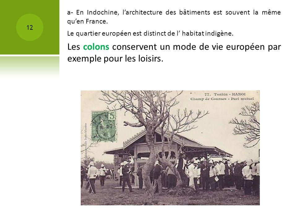 12 Le quartier européen est distinct de l habitat indigène. a- En Indochine, larchitecture des bâtiments est souvent la même quen France. Les colons c