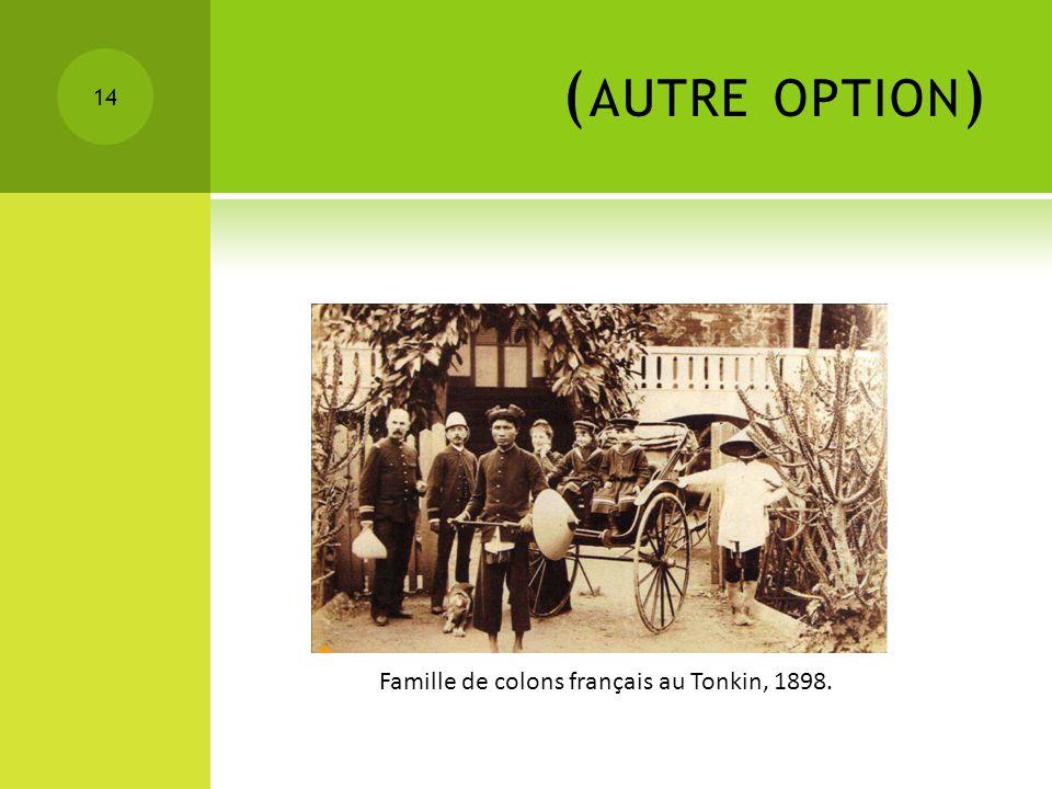 ( AUTRE OPTION ) 14 Famille de colons français au Tonkin, 1898.