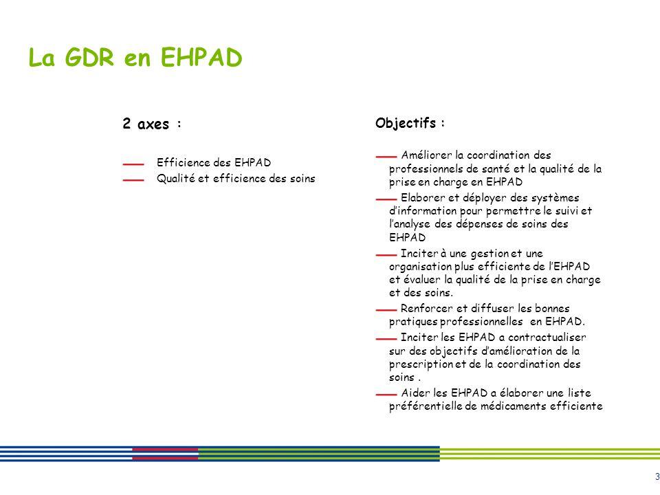3 La GDR en EHPAD 2 axes : Efficience des EHPAD Qualité et efficience des soins Objectifs : Améliorer la coordination des professionnels de santé et l