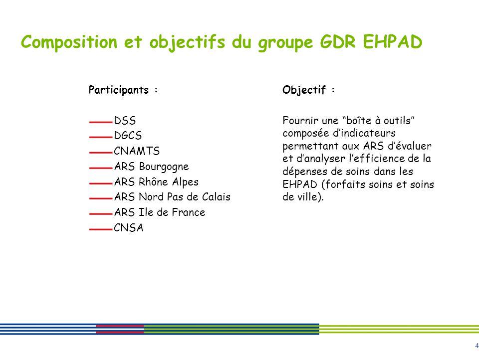 4 Composition et objectifs du groupe GDR EHPAD Participants : DSS DGCS CNAMTS ARS Bourgogne ARS Rhône Alpes ARS Nord Pas de Calais ARS Ile de France C