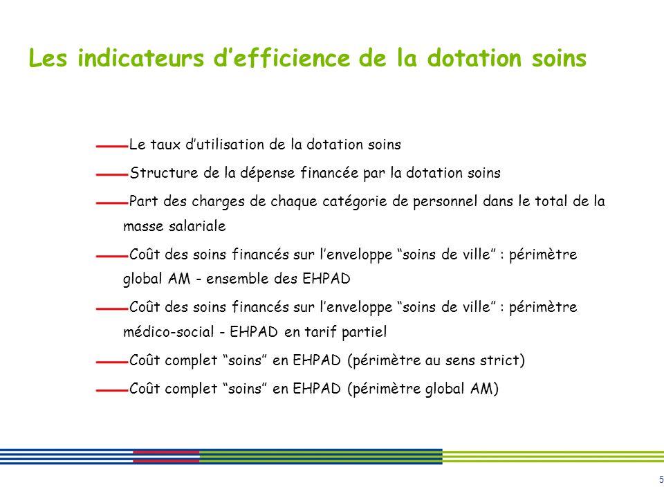 5 Les indicateurs defficience de la dotation soins Le taux dutilisation de la dotation soins Structure de la dépense financée par la dotation soins Pa
