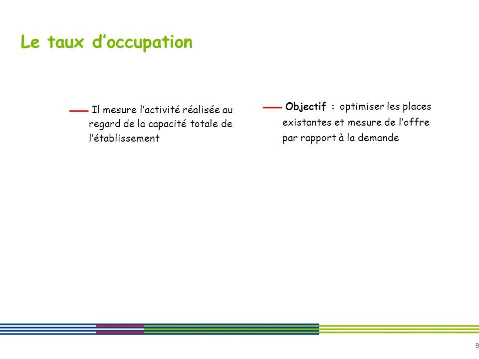 9 Le taux doccupation Il mesure lactivité réalisée au regard de la capacité totale de létablissement Objectif : optimiser les places existantes et mes