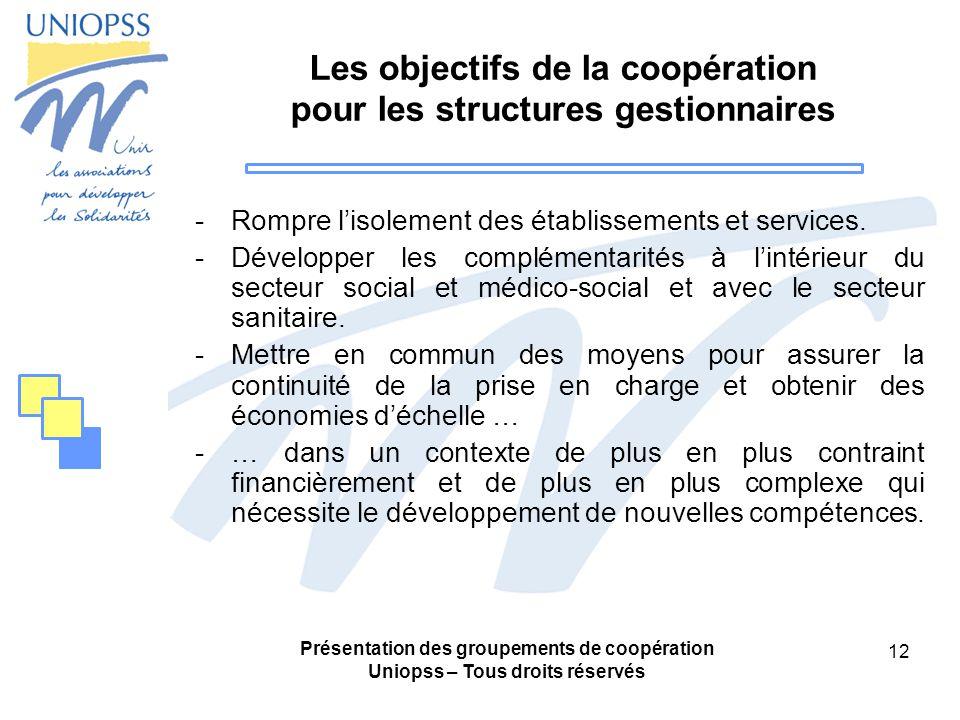Présentation des groupements de coopération Uniopss – Tous droits réservés 12 Les objectifs de la coopération pour les structures gestionnaires -Rompre lisolement des établissements et services.