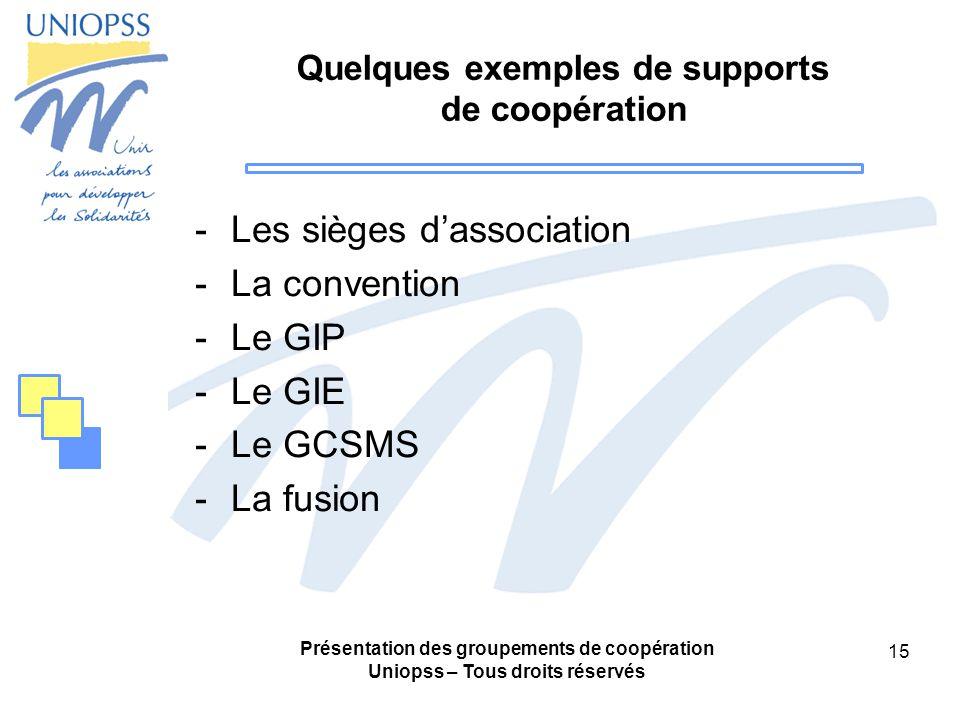 Présentation des groupements de coopération Uniopss – Tous droits réservés 15 Quelques exemples de supports de coopération -Les sièges dassociation -La convention -Le GIP -Le GIE -Le GCSMS -La fusion