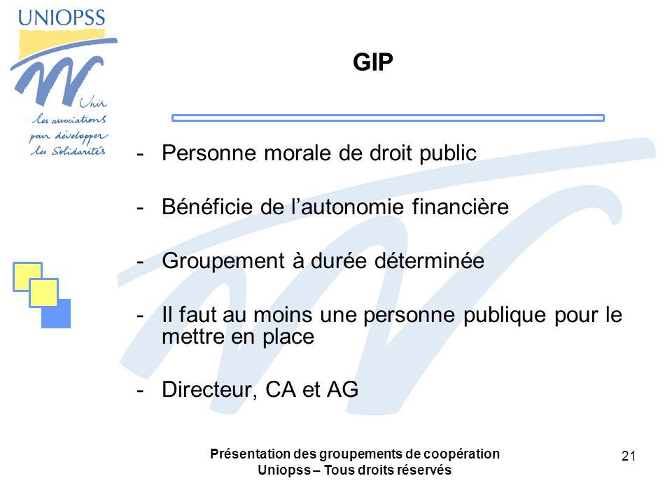 Présentation des groupements de coopération Uniopss – Tous droits réservés 21 GIP -Personne morale de droit public -Bénéficie de lautonomie financière -Groupement à durée déterminée -Il faut au moins une personne publique pour le mettre en place -Directeur, CA et AG