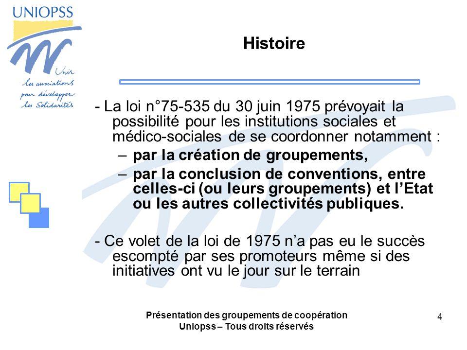 Présentation des groupements de coopération Uniopss – Tous droits réservés 35 Hypothèse 1 : Le GCSMS «groupement de moyens» (1) Figure 1: Organigramme fonctionnel Association AAssociation B GCSMS « Groupement de moyens » Service 1Service 2