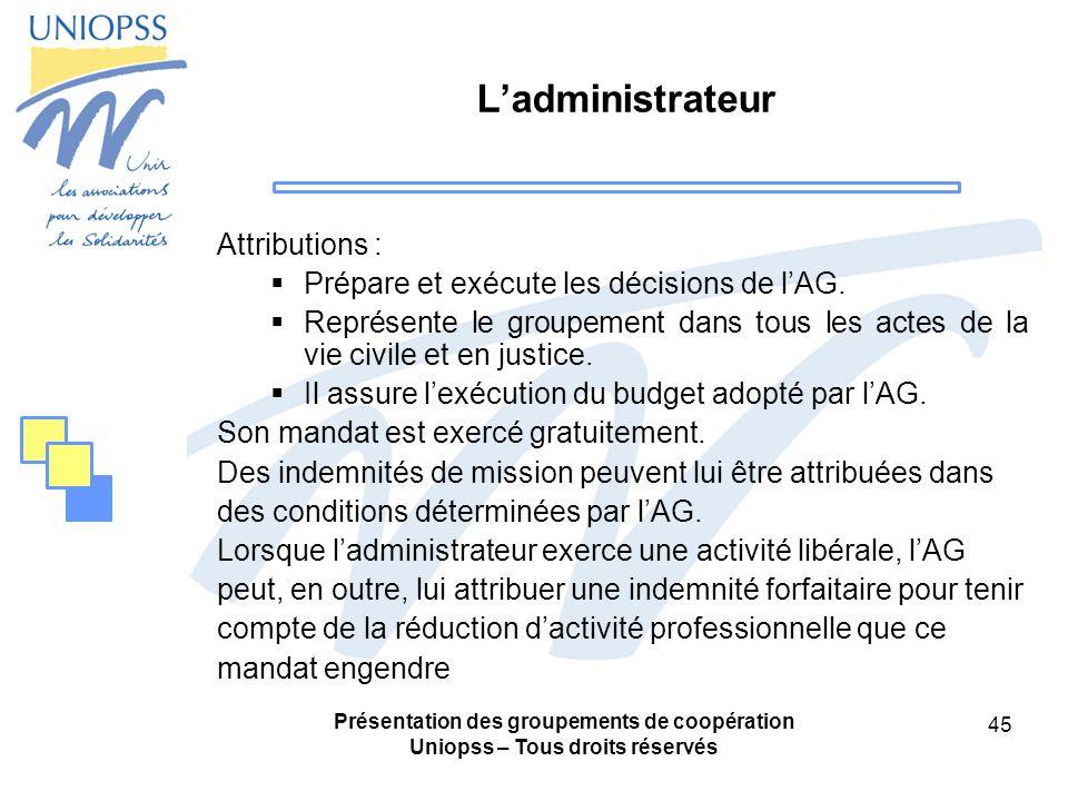 Présentation des groupements de coopération Uniopss – Tous droits réservés 45 Ladministrateur Attributions : Prépare et exécute les décisions de lAG.