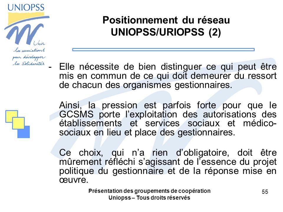 Présentation des groupements de coopération Uniopss – Tous droits réservés 55 Positionnement du réseau UNIOPSS/URIOPSS (2) -Elle nécessite de bien distinguer ce qui peut être mis en commun de ce qui doit demeurer du ressort de chacun des organismes gestionnaires.