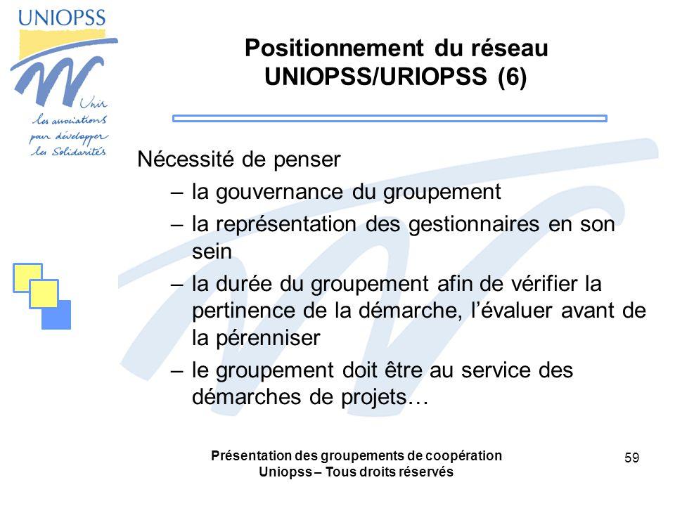 Présentation des groupements de coopération Uniopss – Tous droits réservés 59 Positionnement du réseau UNIOPSS/URIOPSS (6) Nécessité de penser –la gouvernance du groupement –la représentation des gestionnaires en son sein –la durée du groupement afin de vérifier la pertinence de la démarche, lévaluer avant de la pérenniser –le groupement doit être au service des démarches de projets…