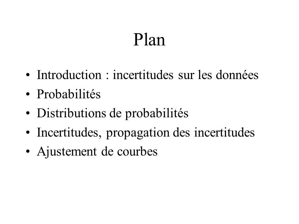 Plan Introduction : incertitudes sur les données Probabilités Distributions de probabilités Incertitudes, propagation des incertitudes Ajustement de c