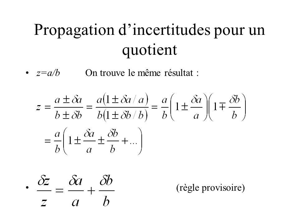 Propagation dincertitudes pour un quotient z=a/bOn trouve le même résultat : (règle provisoire)