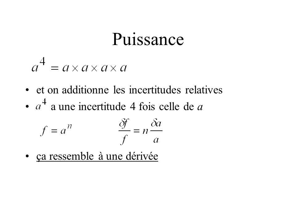 Puissance et on additionne les incertitudes relatives a une incertitude 4 fois celle de a ça ressemble à une dérivée