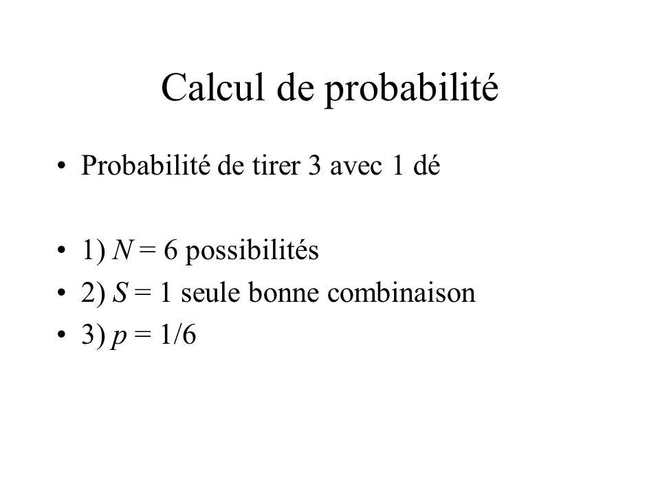 Calcul de probabilité Probabilité de tirer 3 avec 1 dé 1) N = 6 possibilités 2) S = 1 seule bonne combinaison 3) p = 1/6
