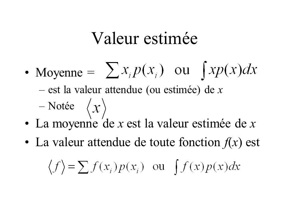 Valeur estimée Moyenne = –est la valeur attendue (ou estimée) de x –Notée La moyenne de x est la valeur estimée de x La valeur attendue de toute fonct