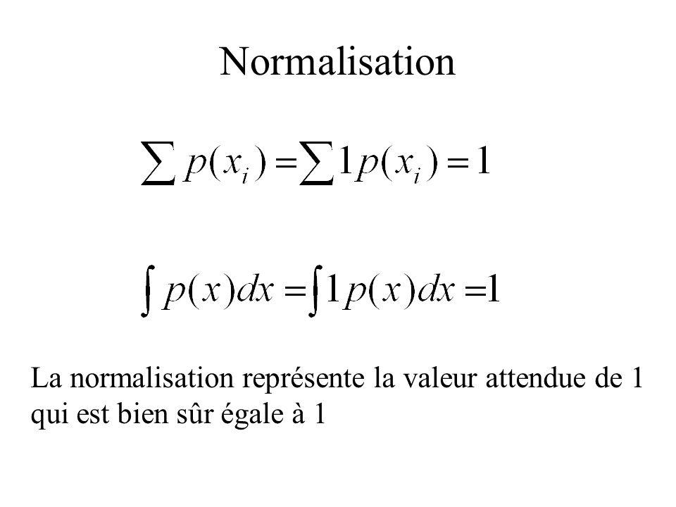 Normalisation La normalisation représente la valeur attendue de 1 qui est bien sûr égale à 1