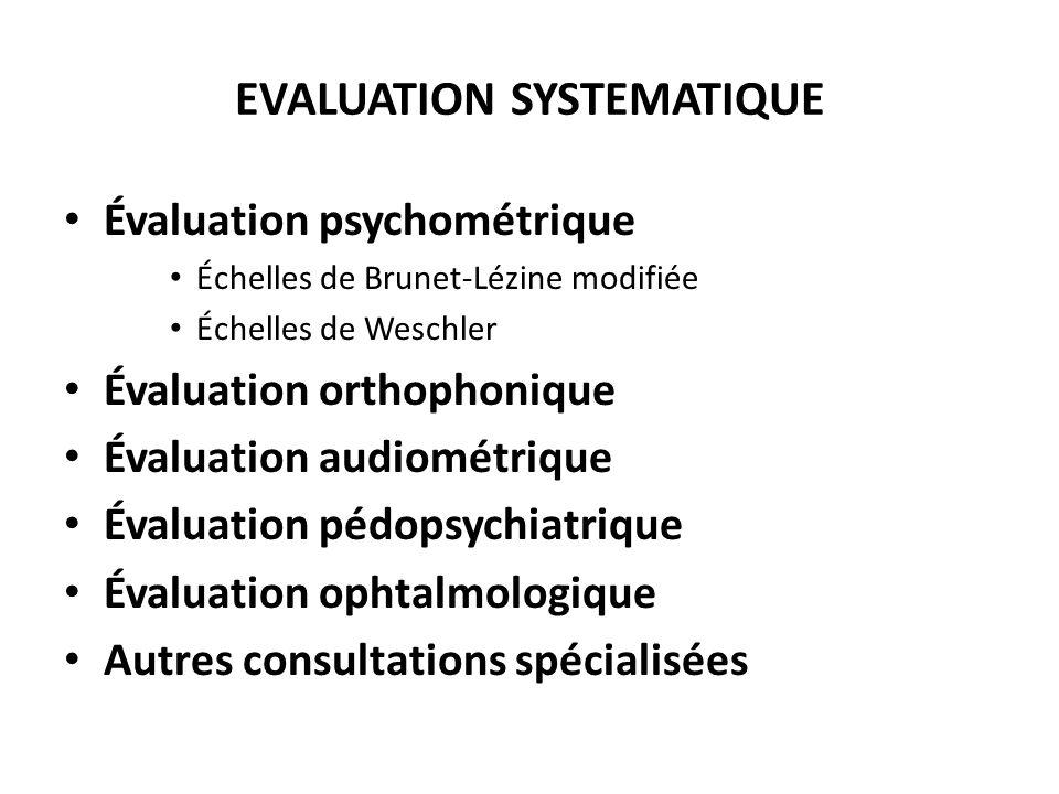 EVALUATION SYSTEMATIQUE Évaluation psychométrique Échelles de Brunet-Lézine modifiée Échelles de Weschler Évaluation orthophonique Évaluation audiomét