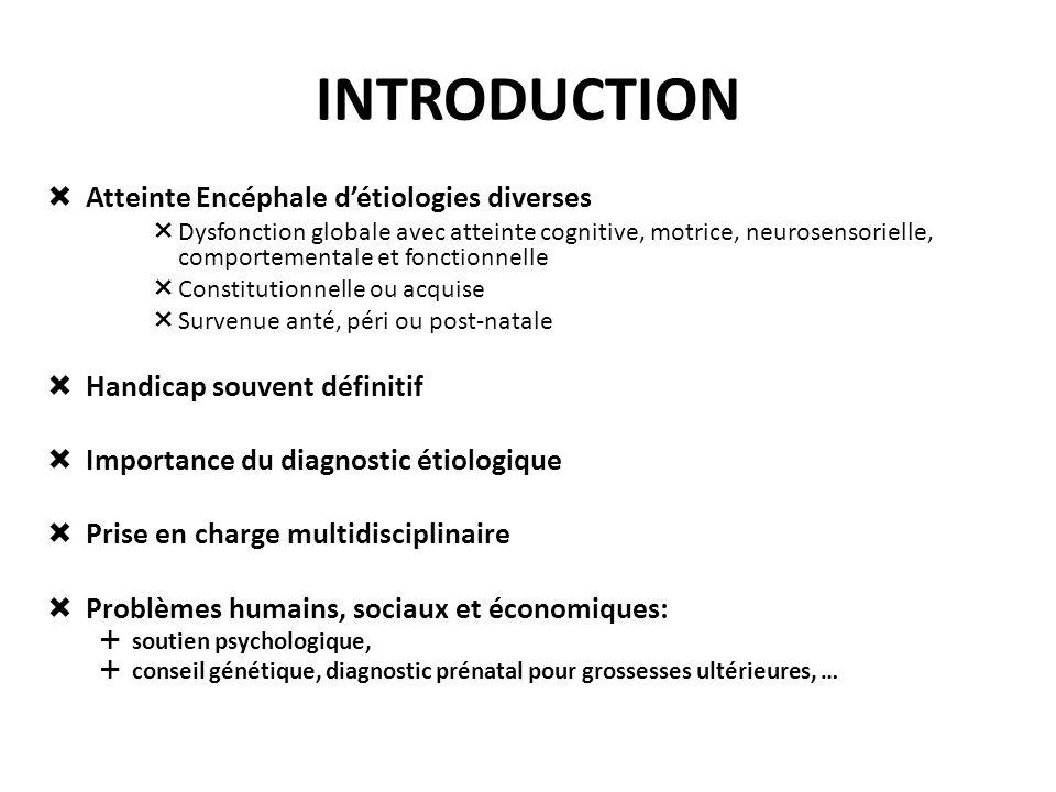 INTRODUCTION Atteinte Encéphale détiologies diverses Dysfonction globale avec atteinte cognitive, motrice, neurosensorielle, comportementale et foncti