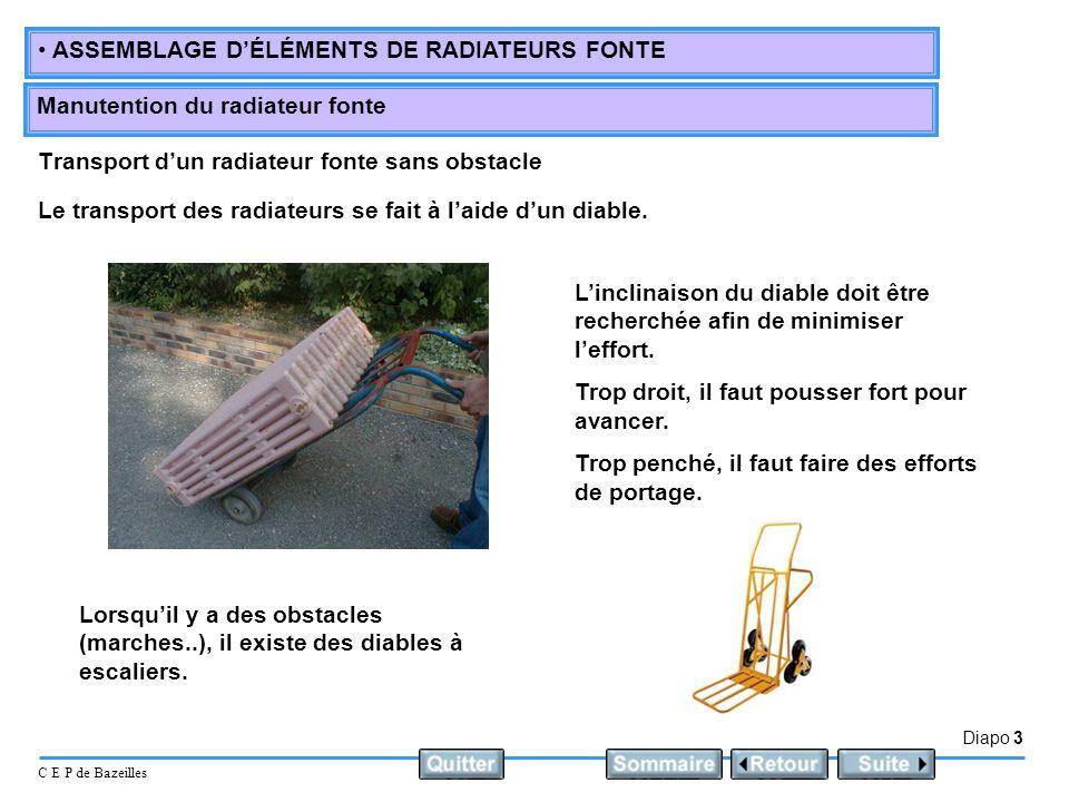 Diapo 3 C E P de Bazeilles ASSEMBLAGE DÉLÉMENTS DE RADIATEURS FONTE Manutention du radiateur fonte Transport dun radiateur fonte sans obstacle Le transport des radiateurs se fait à laide dun diable.