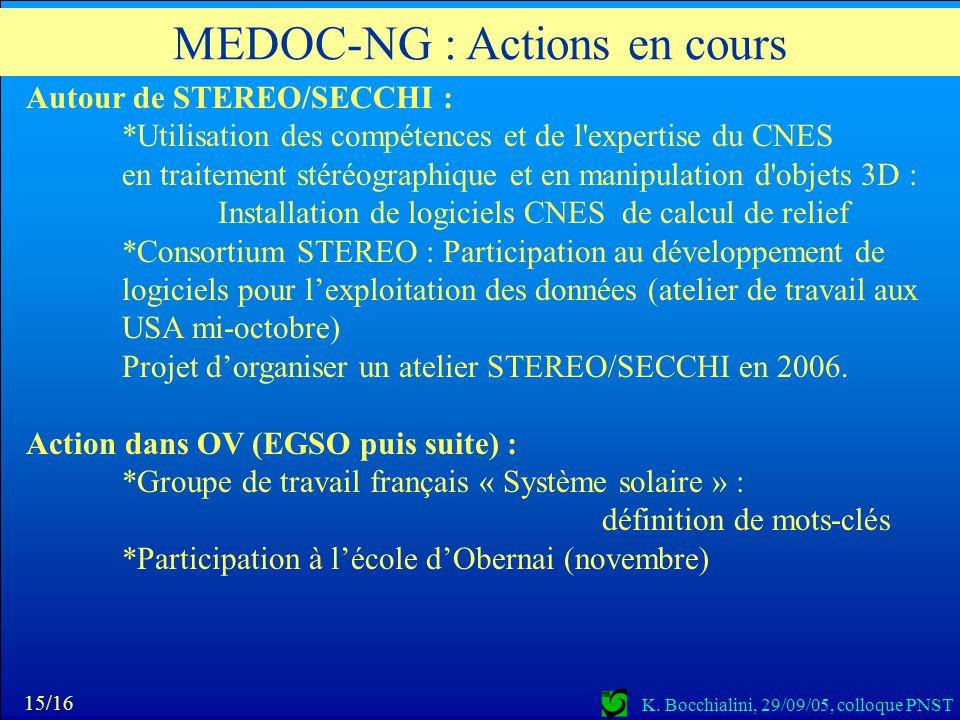 K. Bocchialini, 29/09/05, colloque PNST Autour de STEREO/SECCHI : *Utilisation des compétences et de l'expertise du CNES en traitement stéréographique