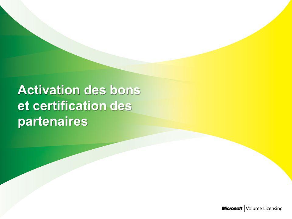 Activation des bons et certification des partenaires