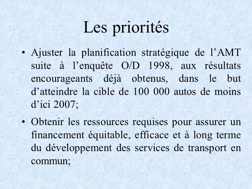 Les priorités Ajuster la planification stratégique de lAMT suite à lenquête O/D 1998, aux résultats encourageants déjà obtenus, dans le but datteindre la cible de 100 000 autos de moins dici 2007; Obtenir les ressources requises pour assurer un financement équitable, efficace et à long terme du développement des services de transport en commun;