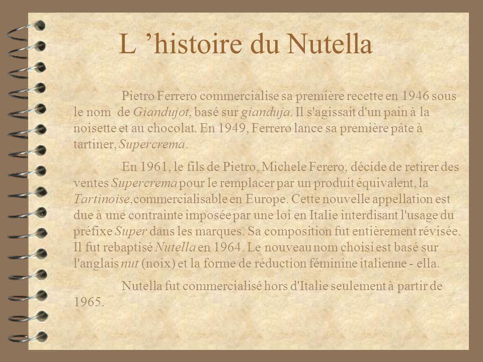 L histoire du Nutella Pietro Ferrero commercialise sa première recette en 1946 sous le nom de Giandujot, basé sur gianduja. Il s'agissait d'un pain à
