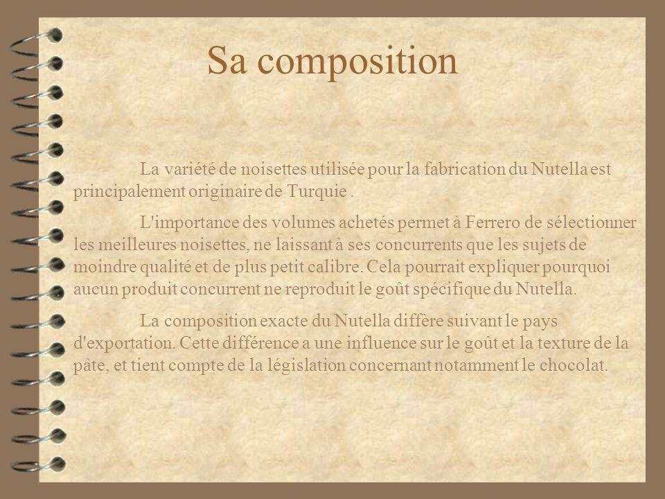 Sa composition La variété de noisettes utilisée pour la fabrication du Nutella est principalement originaire de Turquie. L'importance des volumes ache