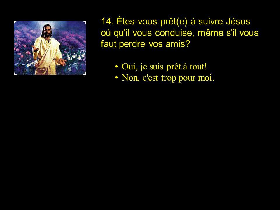 14. Êtes-vous prêt(e) à suivre Jésus où qu'il vous conduise, même s'il vous faut perdre vos amis? Oui, je suis prêt à tout! Non, c'est trop pour moi.