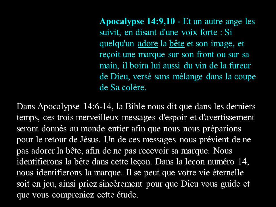 Apocalypse 14:9,10 - Et un autre ange les suivit, en disant d'une voix forte : Si quelqu'un adore la bête et son image, et reçoit une marque sur son f