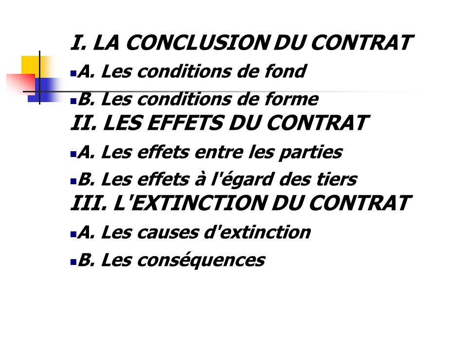 I. LA CONCLUSION DU CONTRAT A. Les conditions de fond B. Les conditions de forme II. LES EFFETS DU CONTRAT A. Les effets entre les parties B. Les effe