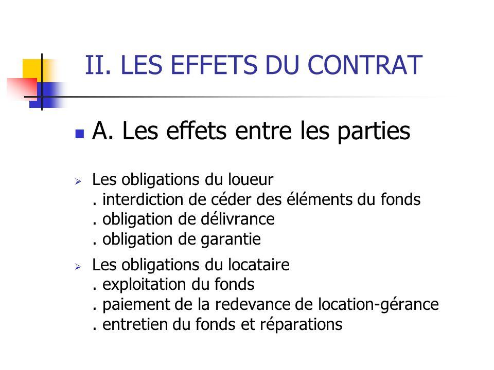 II. LES EFFETS DU CONTRAT A. Les effets entre les parties Les obligations du loueur. interdiction de céder des éléments du fonds. obligation de délivr
