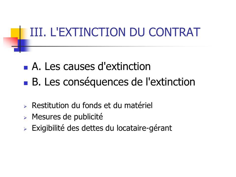 III. L'EXTINCTION DU CONTRAT A. Les causes d'extinction B. Les conséquences de l'extinction Restitution du fonds et du matériel Mesures de publicité E