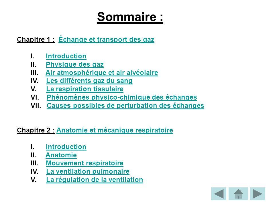 Sommaire : Chapitre 1 : Échange et transport des gazÉchange et transport des gaz I.