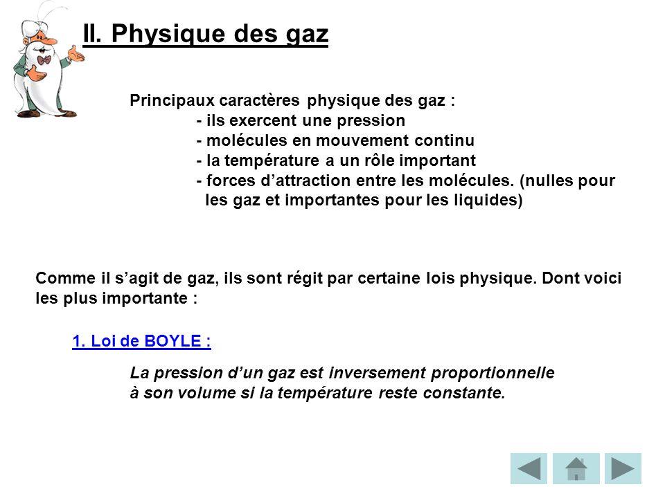 II. Physique des gaz Principaux caractères physique des gaz : - ils exercent une pression - molécules en mouvement continu - la température a un rôle