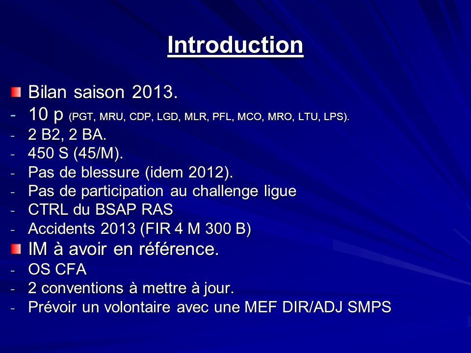 Introduction Bilan saison 2013. - 10 p (PGT, MRU, CDP, LGD, MLR, PFL, MCO, MRO, LTU, LPS).