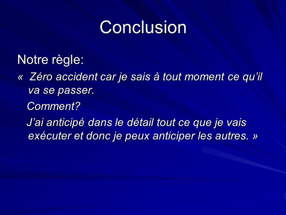 Conclusion Notre règle: « Zéro accident car je sais à tout moment ce quil va se passer.