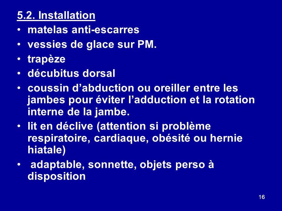 16 5.2.Installation matelas anti-escarres vessies de glace sur PM.