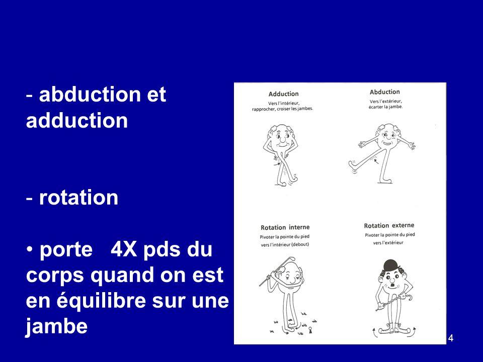 4 - abduction et adduction - rotation porte 4X pds du corps quand on est en équilibre sur une jambe