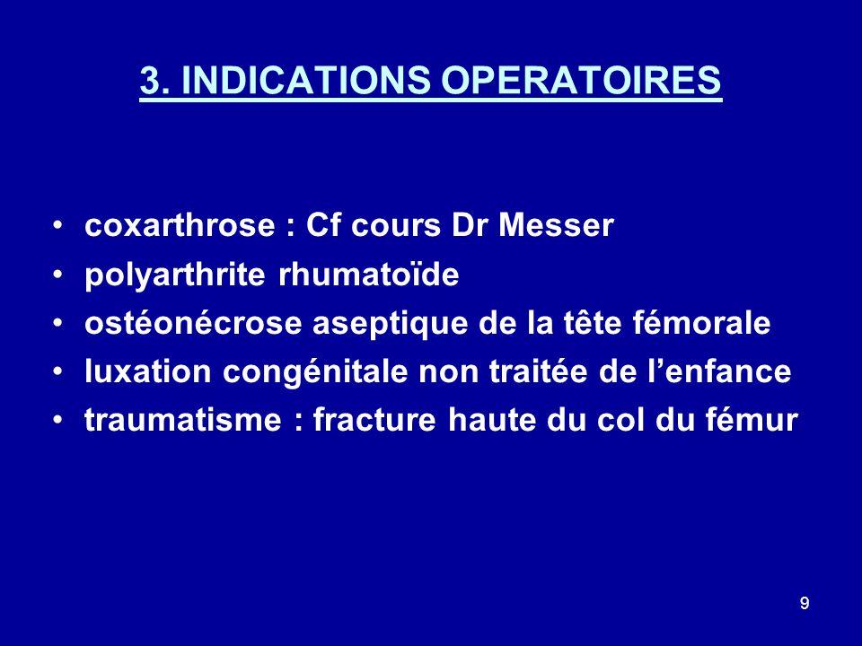 9 3. INDICATIONS OPERATOIRES coxarthrose : Cf cours Dr Messer polyarthrite rhumatoïde ostéonécrose aseptique de la tête fémorale luxation congénitale