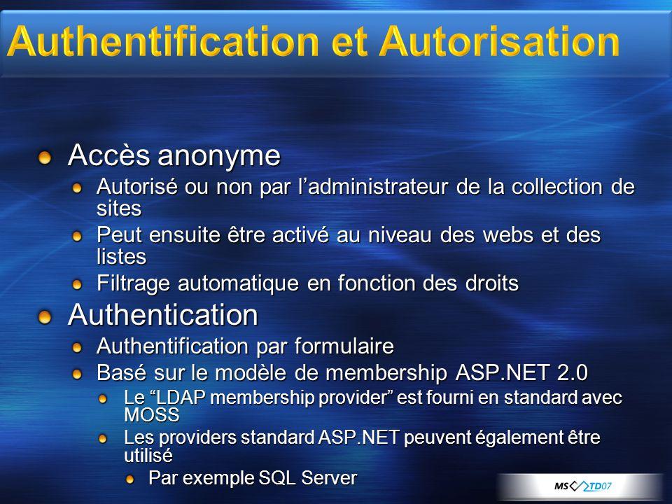 Accès anonyme Autorisé ou non par ladministrateur de la collection de sites Peut ensuite être activé au niveau des webs et des listes Filtrage automat