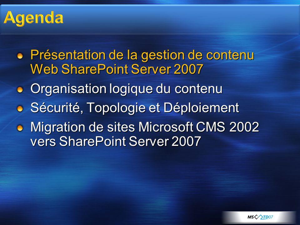 Présentation de la gestion de contenu Web SharePoint Server 2007 Organisation logique du contenu Sécurité, Topologie et Déploiement Migration de sites