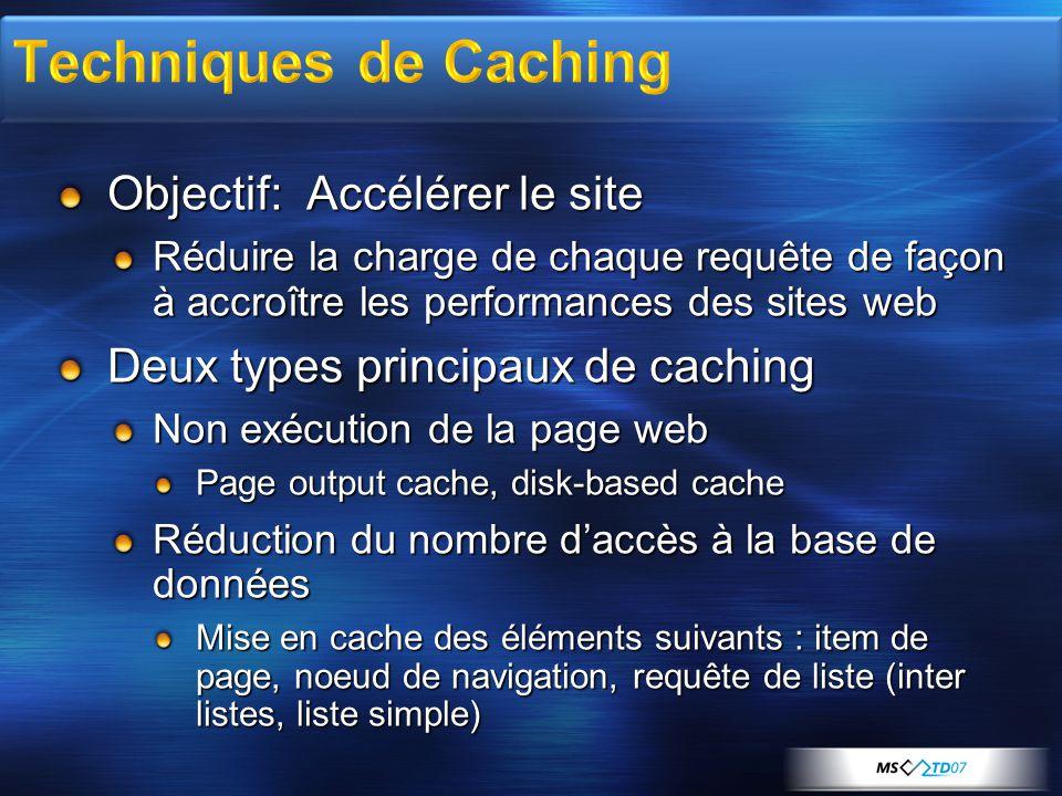 Objectif: Accélérer le site Réduire la charge de chaque requête de façon à accroître les performances des sites web Deux types principaux de caching N